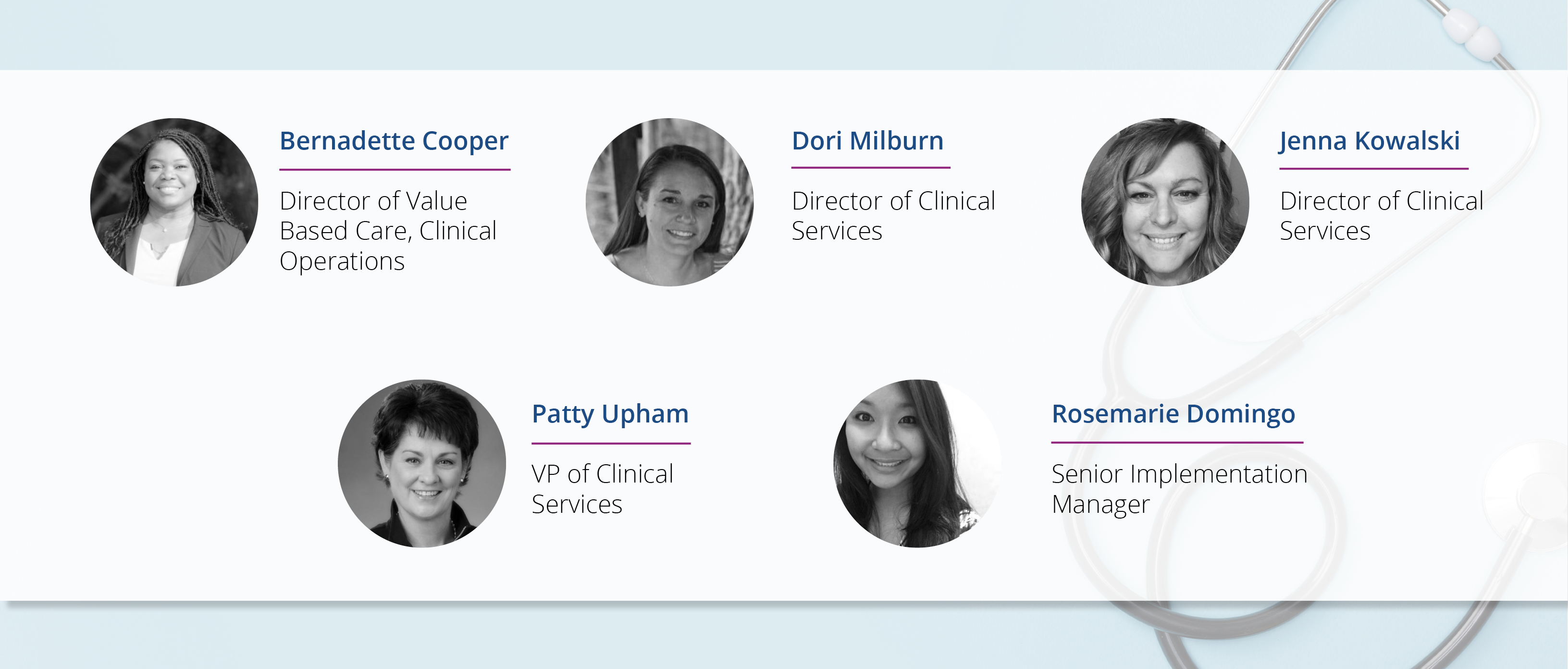 Clinical Services Team Roster Graphic