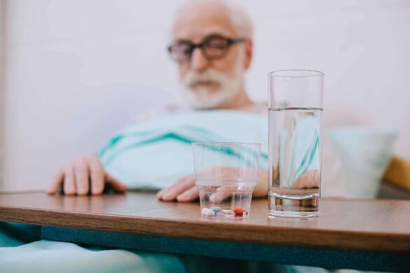 Elderly hospice patient and medications