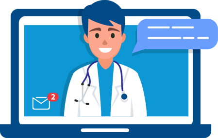 Animation of doctor doing virtual visit