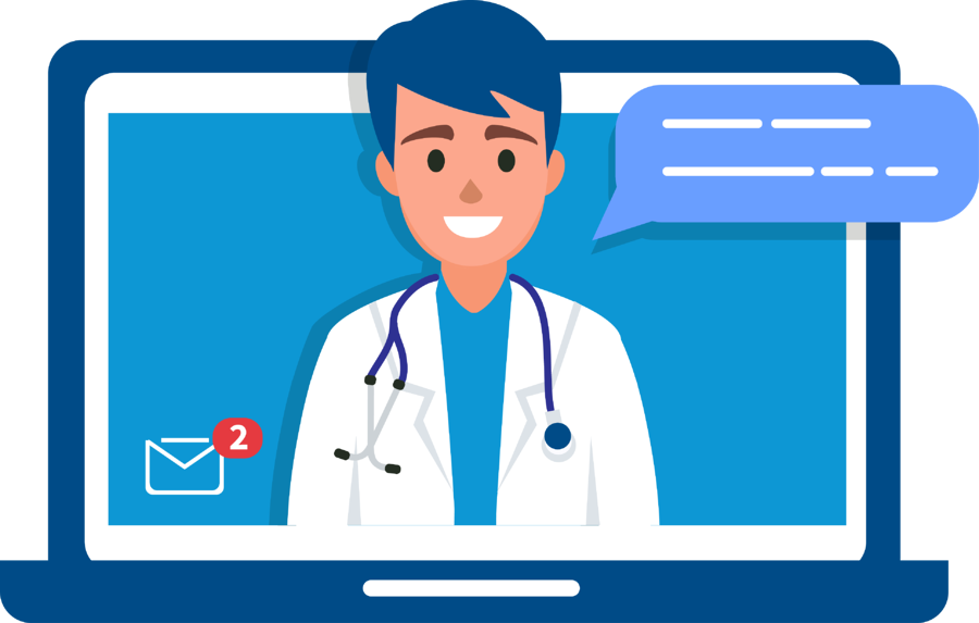 Physician performs virtual visit with telehealth