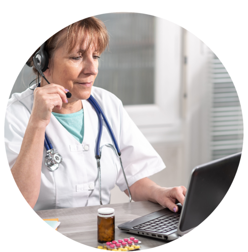 Hospice clinician calling a patient from the office