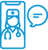 Icon of physician performing telehealth visit with mobile device