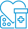 Icon of patient medication and heart