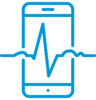 Icon of patient heartbeat on mobile device