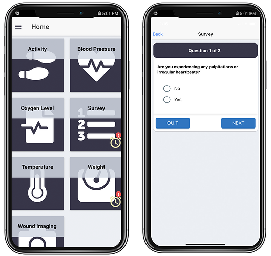 PatientConnect Mobile user interface