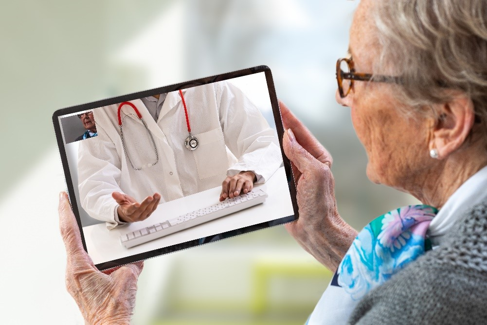 Physician telehealth visit with palliative care patient