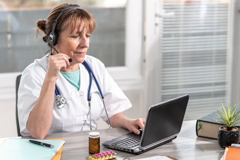 Image of nurse on telehealth conference call