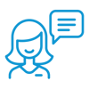 Icon of woman with speech bubble