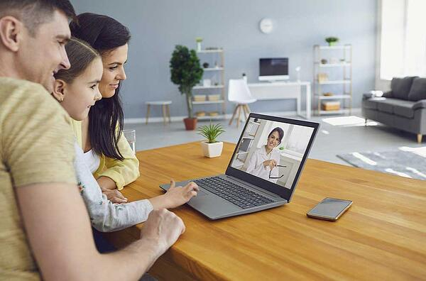 family using pediatric telehealth solution