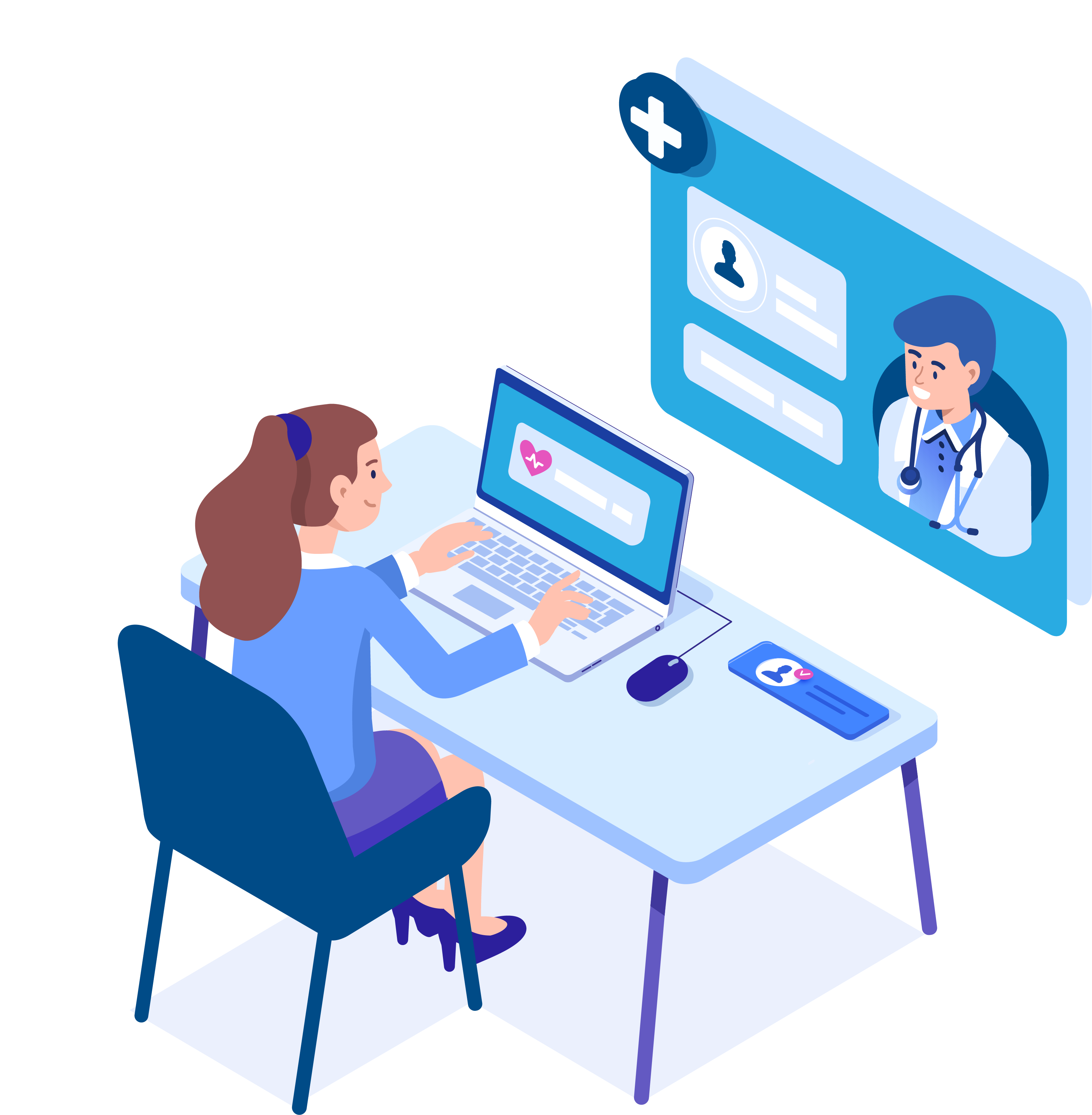 Patient on computer for telehealth
