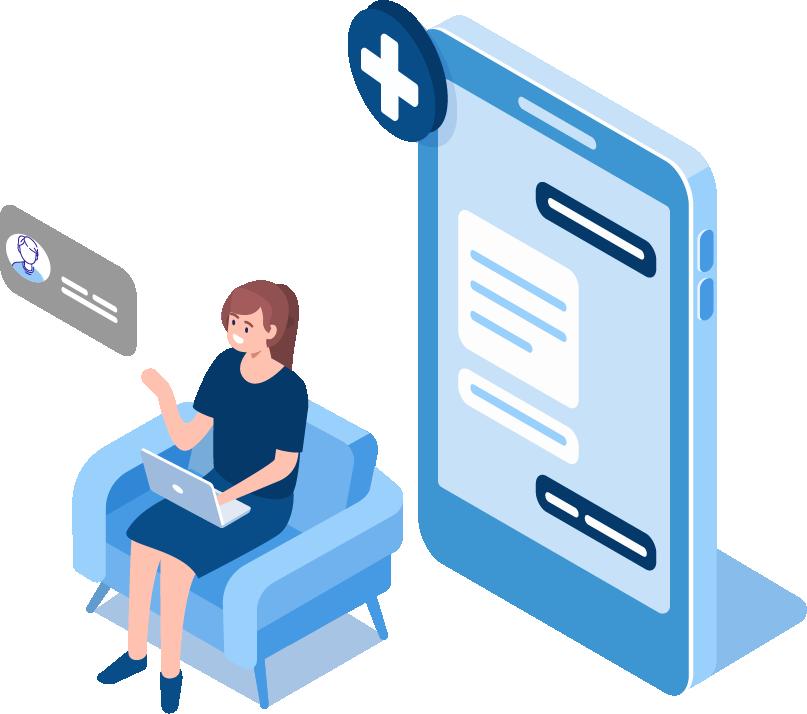 Patient doing telehealth visit animation